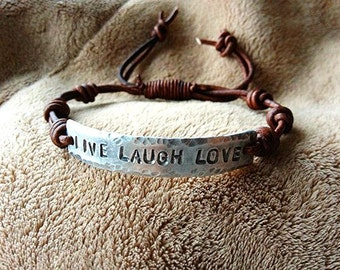Live Laugh Love silver leather Bracelet, Pewter, Hand Stamped, Inspirational jewelry, bracelet with words,