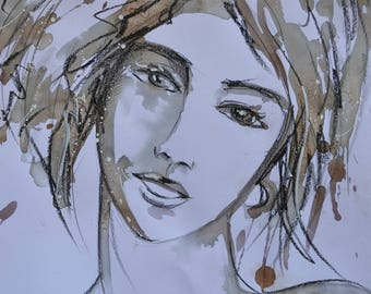 Cherry ink: vegetable ink and pencil on the black stone - portrait