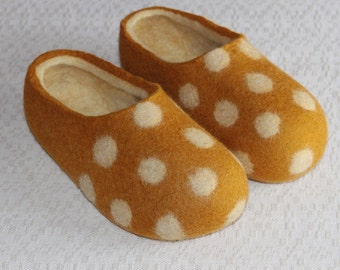 Felted Wool Slippers in Yellow with Natural White inside and White Polka Dots decor. Made to order.