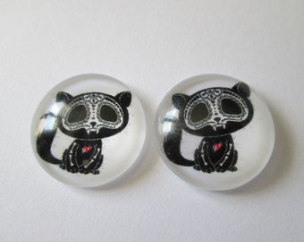 2 cat Calaveras pattern 20 mm round glass cabochons