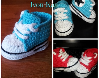 Crochet pattern baby boy girl inspired by converse style shoes PDF pattern, tennis shoes, sport shoes, 3sizes, Instant download