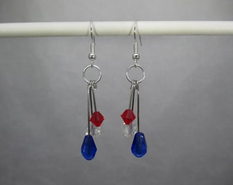 Patriotic Red, White, Blue Dangle, Beads, 4th of July, Beads, Silver Design Earrings