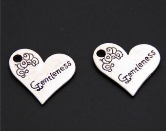 30pcs Antique Silver Gentleness Heart Charms Pendant A2414