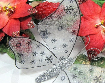 Glass Butterfly Embellishments Let It Snow In Silver