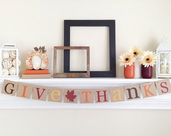 Give Thanks Banner, Thanksgiving Decorations, Give Thanks Sign, Fall Bunting, Thanksgiving Garland, Fall Banners, Brown Glitter, B045