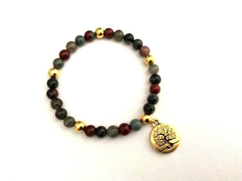 bracelet arbre de vie porte bonheur perles gemmes. Black Bedroom Furniture Sets. Home Design Ideas