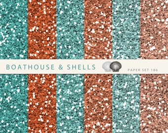 BEACH PARTY GLITTER Scrapbooking digital paper pack, digital glitter paper in turquoise and orange, download, printable - 186