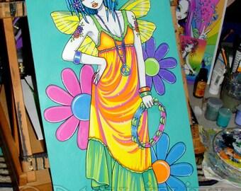 "Harmony - 12""x24""  Original Acrylic Painting Rainbow - Hippie - Flower Child - Fairy Art - Myka Jelina Art"