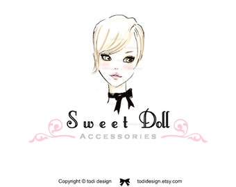Sweet Doll - Hair and Beauty Salon- OOAK Character Illustrated Premade Logo design-Will not be resold