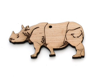 Indian Rhinoceros Ornament- Timber Green Woods. Sustainable Harvest Wood. Made in the USA!