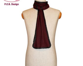 Silk scarf, burgundy-anthracite, red-grey, men's scarf, unisex scarf, nuno scarf, felt scarf, silk, bourette, wool