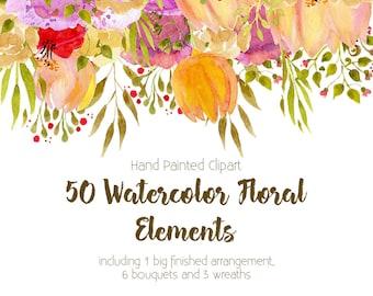 Clipart Set - 50 Watercolor Floral Elements. Flowers and leaves Clipart. 50 individual elements, 1 Floral Drop, 6 Bouquets and 3 wreaths