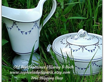 Antique Tureen and Pitcher White Porcelain Villeroy & Boch Blue Old Septfontaines Luxembourg Decor   #sophieladydeparis