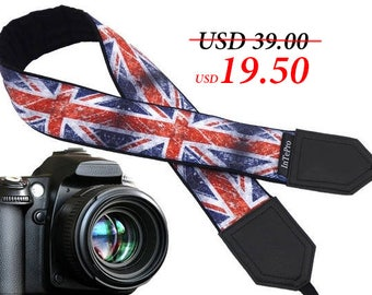 Vintage UK flag. Old British flag camera strap. Flag of Great Britain. DSLR Camera Strap. Personal gift for him, for her.