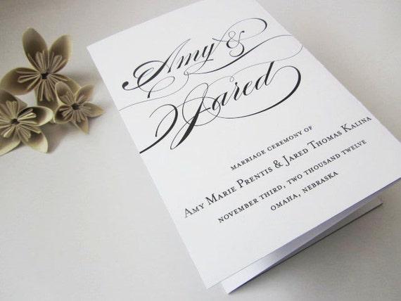 printable tri fold wedding program calligraphy
