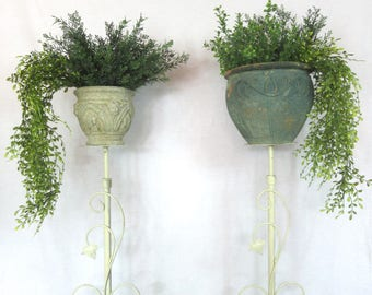 "1940s Plant Stands / Cast Iron / Adjustable 50"" Height / White Wedding / Funeral Flower Stands / Free Ship"