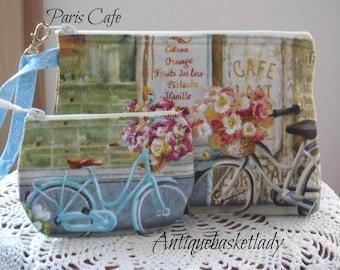 Bicycle Travel Pouch, Travel Purse, Travel Clutch, French Wristlet, Zipper  Bag Set, Smart phone Case, Paris Cafe, Handbag, Paris Bicycles
