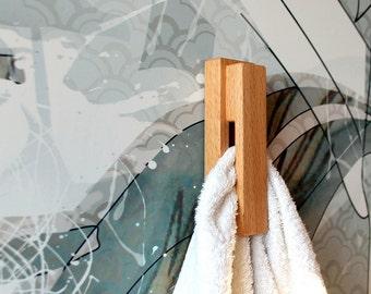Beech wood wall hook,towel holder,bathroom towel hook,kitchen towel hook,wall mounted hook,home decor,wooden wall hook