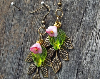 Earrings Antique Gold Leaf and Czech Glass Flower Dangles