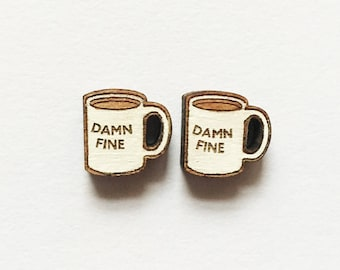 Wood laser cut earrings studs - damn fine coffee twin peaks Agent Cooper handpainted