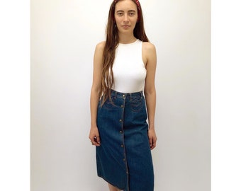 Mizz Lizz Skirt // vintage 70s denim jean cotton dress boho ethnic hippie festival gypsy sun high waist mini 1970s hippy // XS/S