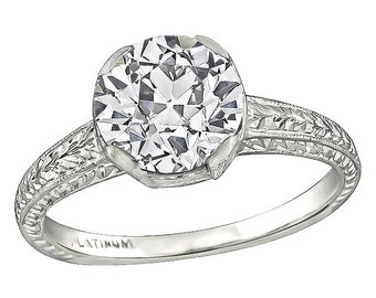 Edwardian GIA Certified 1.62ct Diamond Engagement Ring