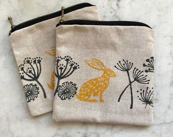 Hand Printed & Hand Sewn Little Zipper Purse with Hare Meadow Motif- ideal stocking filler, party bag filler or birthday gift