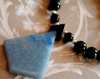 Black Onyx and Blue Aventurine - Necklace