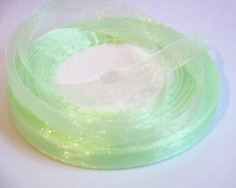 10 m clair10mm green organza Ribbon