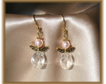 Petite and Dainty Gold Angel Earrings with Swarovski Pearls and Crystals