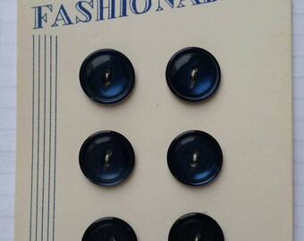 Fashionable buttons Vintage buttons Carded buttons Set of 6  Poly Pearl buttons 1960s Free shipping Canada