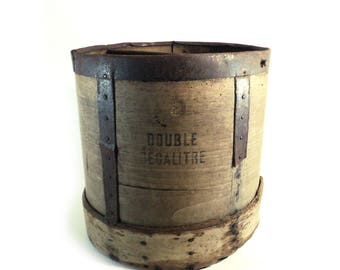 Large French Wood Grain Measuring Cup, Antique Wooden Bucket, Double Decaliter, Primitive Storage Basket