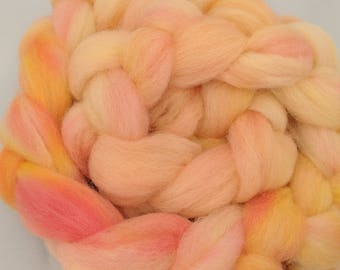"""Roving Combed Top Babydoll Southdown Wool & Alpaca Blend of Peach/Pinks Hand Dyed 2 Oz Spinning Fiber Felting  """" Cotton Candy """" (3 avail)"""