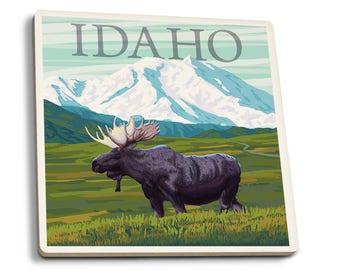 ID - Moose & Snowy Mountain - LP Artwork (Set of 4 Ceramic Coasters)