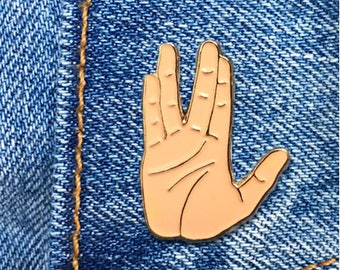Vulcan Salute Pin, Spock Hand Pin, Soft Enamel Pin, Art, Jewelry, Gift (PIN10)