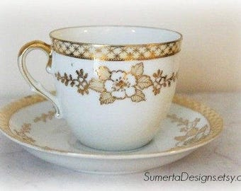 1930s Art Deco tea cup ~ gold floral tea cup ~ gilded gold tea cup ~ white gold tea cup ~ ~ teacup saucer ~ Art Nouveau tea cup