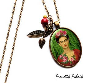 Necklace Frida Kahlo Bronze Roses grass.