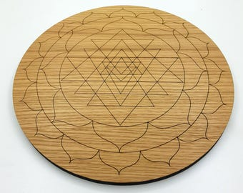 Sri Yantra Oak Crystal Energising Board - Charging, Connecting & Cleansing Crystals