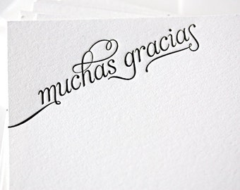 muchas gracias | letterpress thank you cards in spanish