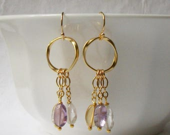 Flourite Tassel Dangle Earrings, Mulit-colored Dangle Earrings