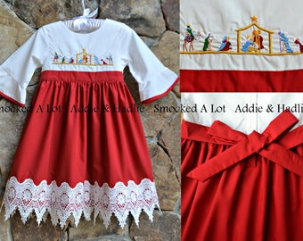 """Girls dress Christmas red nativity scene """"Away in a Manger"""" smocked embroidered lace Jesus Christ"""