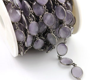 Lavender Chalcedony  Bezel Chain Component, Oxidized Sterling Silver,Sold as Foot,14x16  mm, (GMCOX-LCHLC/01)