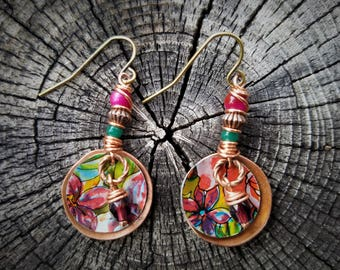 Upcycled Vintage Tin Earrings