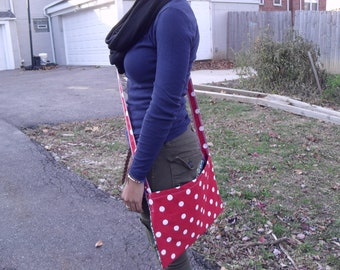 Handmade Cross-Body Bag in Red Polka Dot and Damask