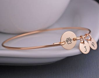 Gold Pet Jewelry, Personalized Pet Memorial Jewelry, Gold Paw Print Bracelet, Pet Lover Gift