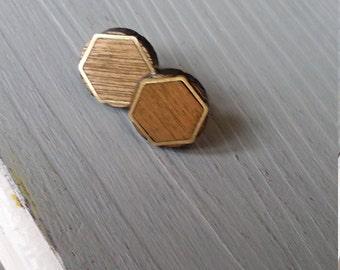 Hexagon Stud Earrings, Lightweight, Stainless Steel posts, Handmade Wood Earrings