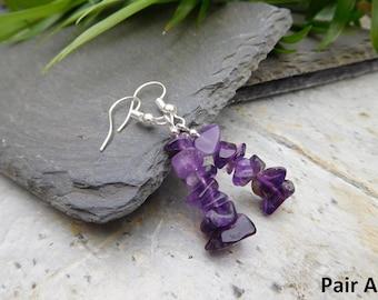 Amethyst chip drop earrings