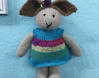 Handknitted Girl Bunny Rabbit In Blue Striped Dress