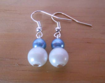Simple blue and white wedding earrings