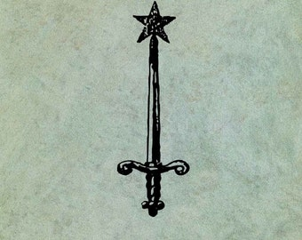 Sword with Star at the Tip - Antique Style Clear Stamp
